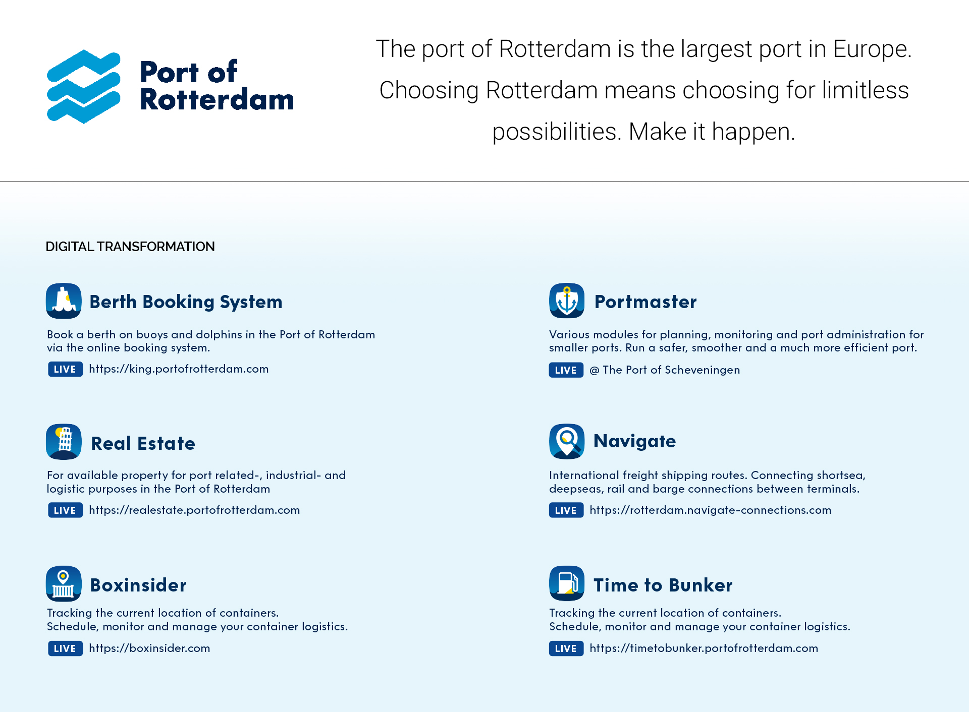 Port of Rotterdam - Project King - Berth Booking system